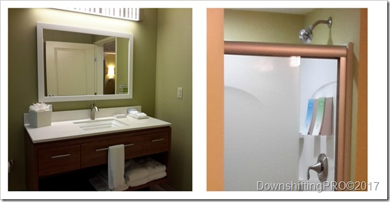 Bathroom Home2Suites Huntsville Alabama @DownshiftingPRO