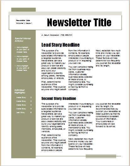 15 Editable NEWSLETTER TEMPLATES For MS WORD Document Hub
