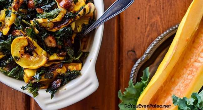 Warm Winter Kale and Delicata Squash Salad with Maple Vinaigrette