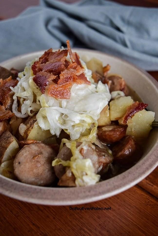 Brat, Potato, and Sauerkraut Stew | DoYouEvenPaleo.net