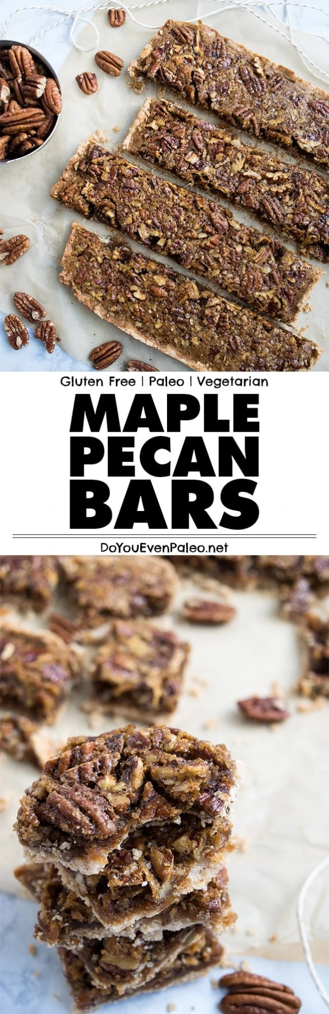 Rich, gooey Maple Pecan Bars that will remind you of pecan pie! It's gluten free and paleo. | DoYouEvenPaleo.net