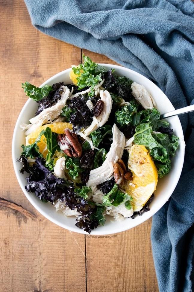 Orange Pecan Kale Salad with Citrus Tahini Dressing | DoYouEvenPaleo.net