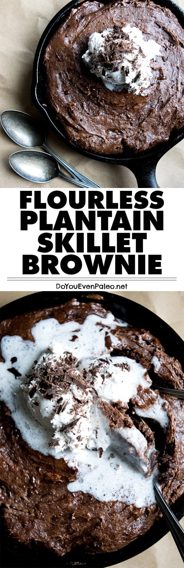 A decadent treat with just a handful of ingredients! This flourless plantain skillet brownie is paleo, vegan, gluten free and nut free. | DoYouEvenPaleo.net