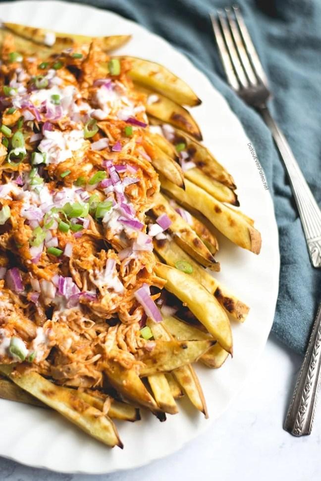 BBQ Chicken Smothered Sweet Potato Fries | DoYouEvenPaleo.net