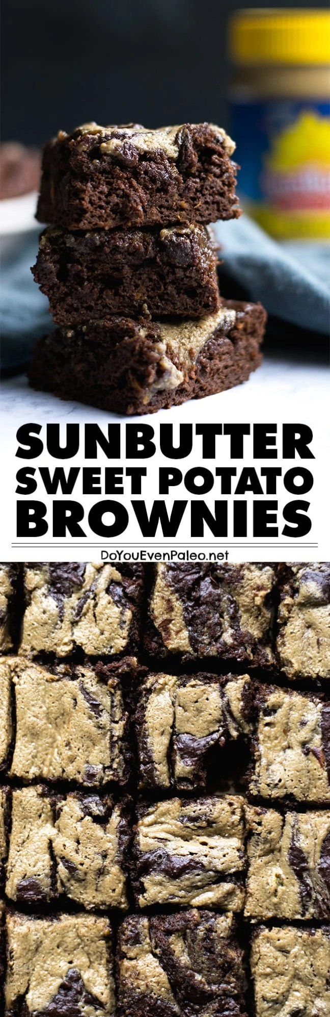 Fudgy Paleo Sunbutter Sweet Potato Brownies - complete with a Sunbutter swirl! Nut free, gluten free, paleo, vegan | DoYouEvenPaleo.net
