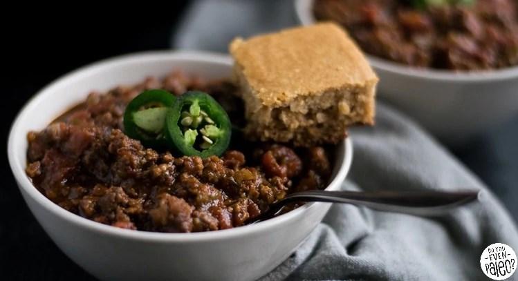 Paleo Sausage Chili with Skillet Cornbread | DoYouEvenPaleo.net