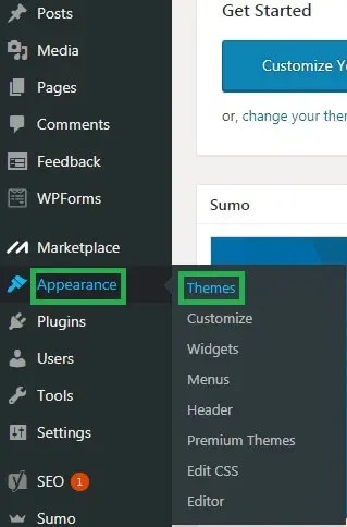 wordpress step 1 selecting appearance themes