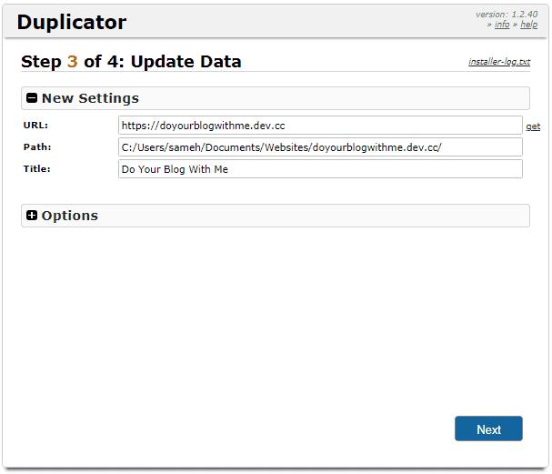 Duplicator step 3a update data confirmation screen