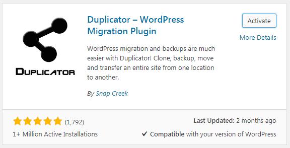 WordPress step 2 activate duplicator plugin