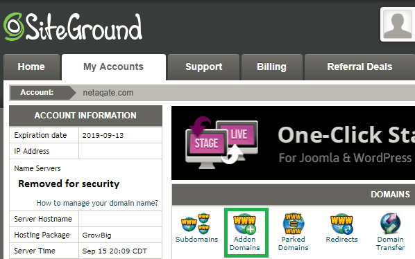 siteground step 3 click on addon domains