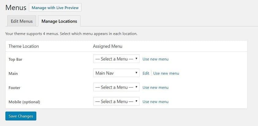 Manage your menus locations