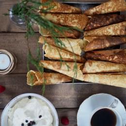 Krumkaker with espresso cream and juniper berry cream