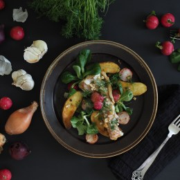Pan-Seared Fish & Radish Salad with Slow-Fried Potatoes