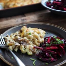 Norwegian Pinnekjøtt Macaroni and Cheese and Winter Slaw