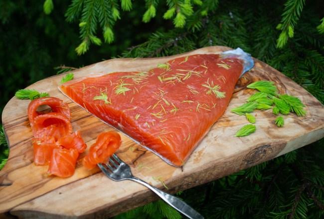 Cured Trout with Spruce Tiips (Gravet Orret med Grandskudd)