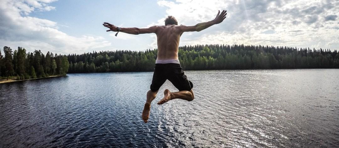 Jumping into lake