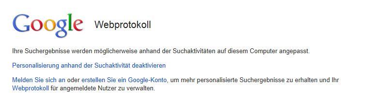 Google Webprotokoll deaktivieren