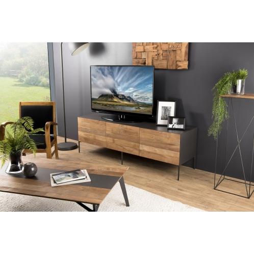 meuble tv 2 portes 1 tiroir teck