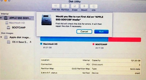 "Use ""First Aid"" in the Disk Utility"