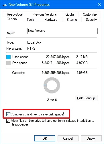 compress this drive to save disk space 8