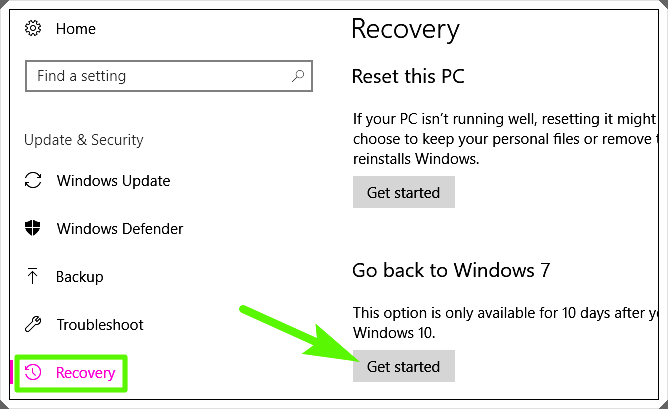How to Downgrade from Windows 10 1