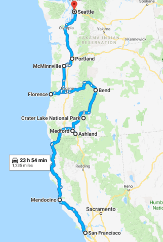 Seattle to San Francisco road trip map