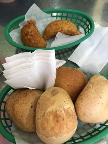 empanada and pan de bono walking food tour