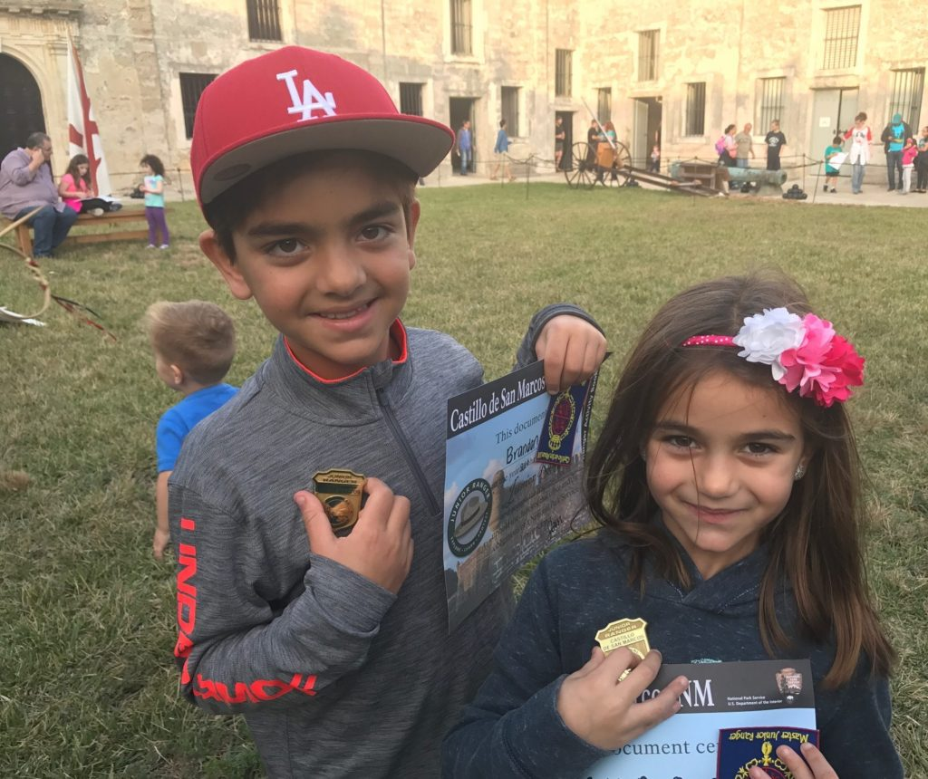 Castillo San Marcos junior ranger badges