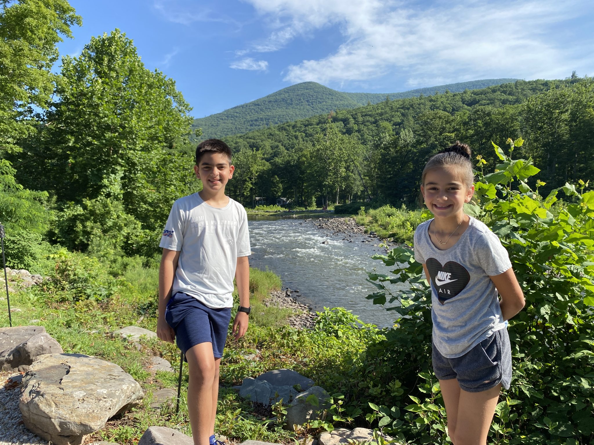 Esopus Creek view w kids