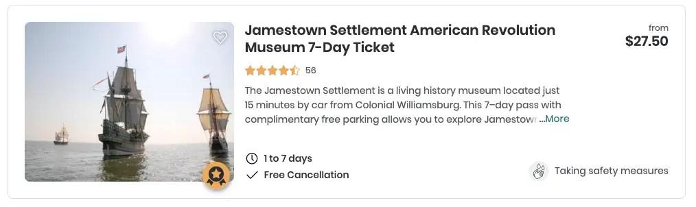 jamestown settlement tour
