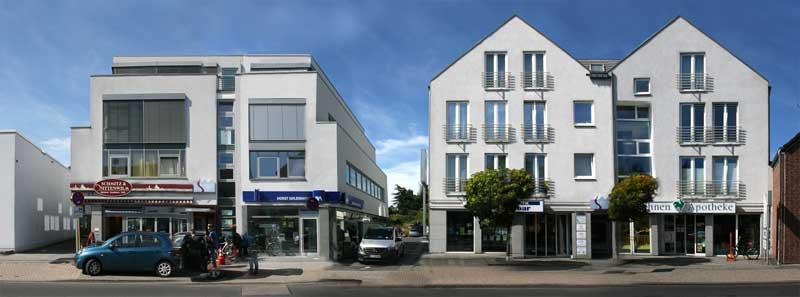 Das Gesundheitszentrum Rondorf in den beiden Gebäuden Rodenkirchener Str. 162 (links) und 158 (rechts)