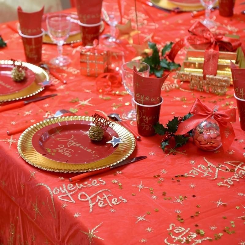 nappe rectangulaire rouge joyeuses fetes