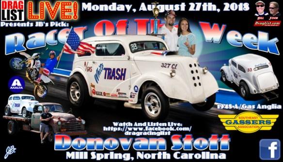Donovan Stott is JB's Pick for Racer of the Week: August