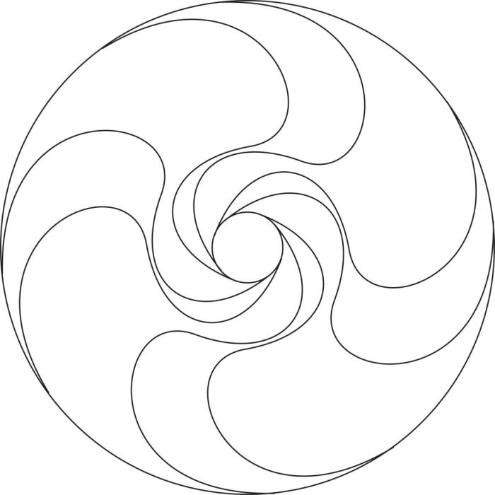 """4-fold spiral mandala (center only). This version is best for 8"""" diameter and smaller."""