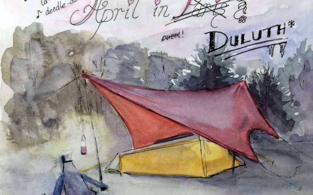 line and wash painting of a campsite with tent and chair