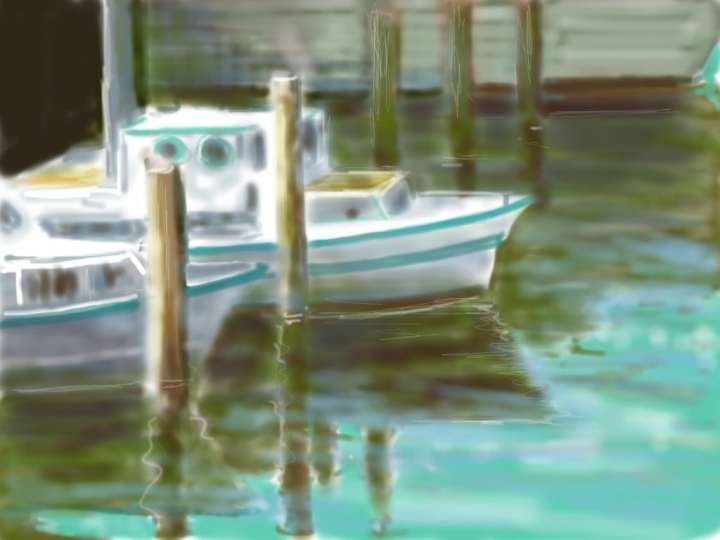 Digital painting of boats at Fisherman's Wharf.