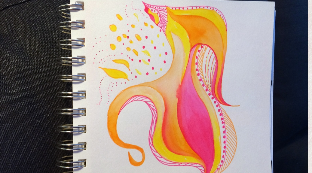 Pink and yellow doodle expressing the feeling of celebration.
