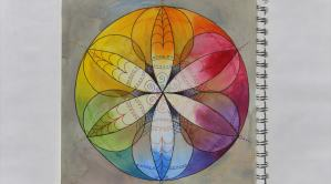 Six-fold symmetric design with wet-in-wet watercolor in a color wheel format.