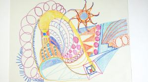 Paper covered with crayoned lines, colors and shapes.