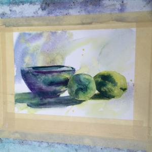 I tried to use a brushstroke (or two) to make the shadow shapes on the bowl and lemons. For the soft shadows on the lemons, I wet the paper first and then made my brushstrokes. In the foreground shadow, you can see where I swept a brush with clear water over the foreground and let it touch the edge of the shadow to soften it.