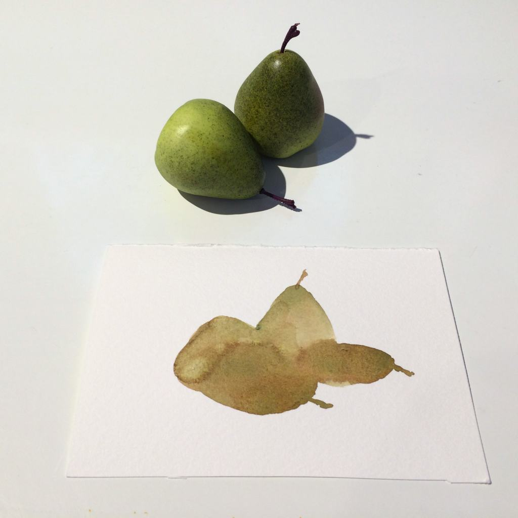 I switched to darker, greyer color as I got to the shadow areas, but as you can see, it bled into the still wet area of the pears. It turns out that is a good thing, so don't try to prevent it.