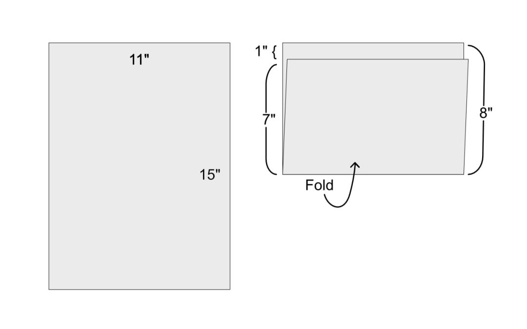 "diagram showing quarter-sheet (11 x15"") folded into a 7 x 11"" and an 8 x 11"" section"