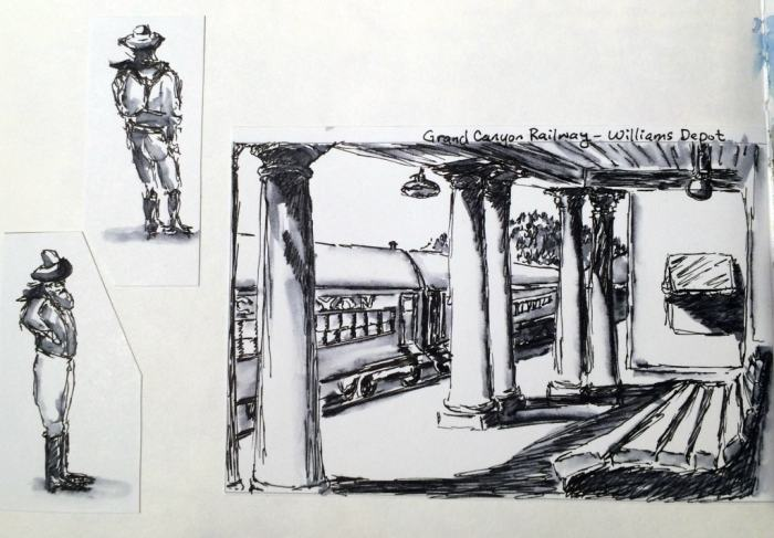 Line and wash sketches of cowboys and rail station.