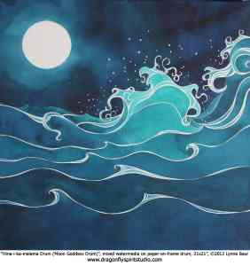 Paper-on-frame drum painted with a moon and breaking ocean waves in deep blues and turquoises, by Lynne Baur
