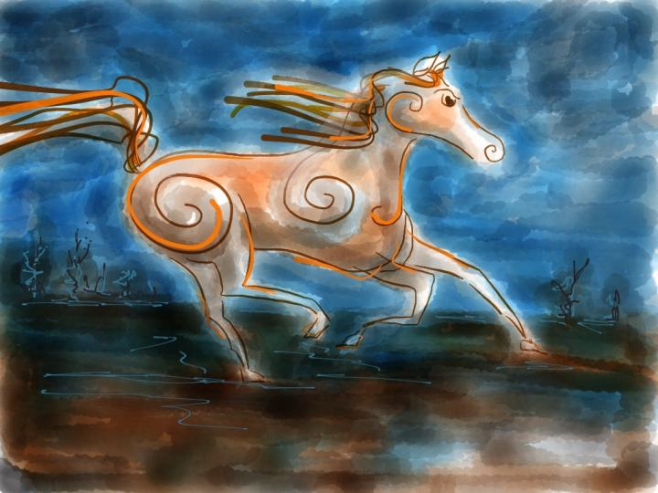 Horse drawn with Paper by 53.