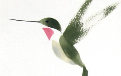 Hummingbird Brush Drawing