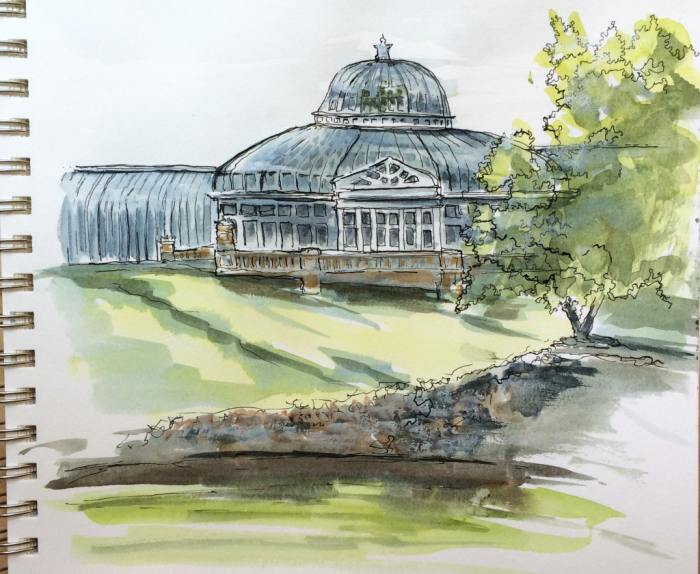Second sketch of conservatory building.