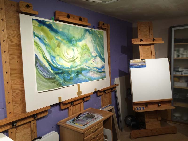 Large watercolor in the Currents & Eddies series by Lynne Baur, in progress.