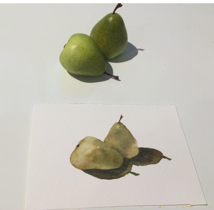"Third layer—The cast shadows, and a small shape to ""separate"" the two pears."