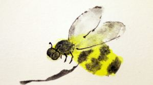 Bumblebee painted with finger and brushprints.